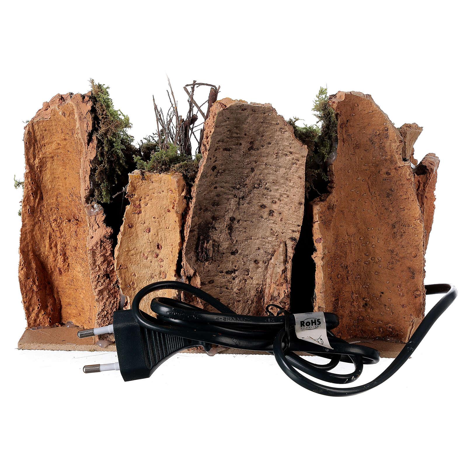 Villaggio con fuoco elettrico 15x20x15 cm per presepi 8-10 cm 4