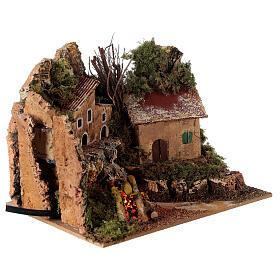 Villaggio con fuoco elettrico 15x20x15 cm per presepi 8-10 cm s3