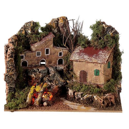 Villaggio con fuoco elettrico 15x20x15 cm per presepi 8-10 cm 1