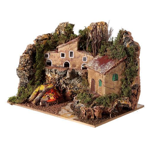 Villaggio con fuoco elettrico 15x20x15 cm per presepi 8-10 cm 2
