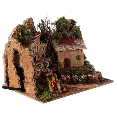 Villaggio con fuoco elettrico 15x20x15 cm per presepi 8-10 cm 3