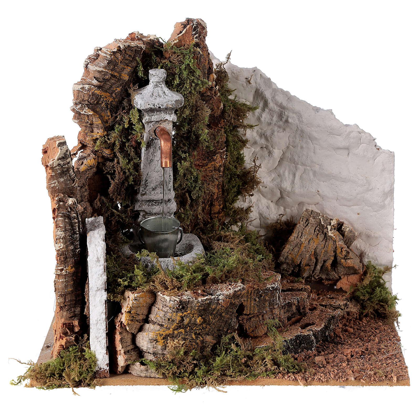 Fontana con secchio 20x20x15 cm per presepe 8-10 cm 4