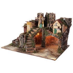 Villaggio illuminato con mulino ad acqua 40x65x50 cm presepe 10-12 cm s2