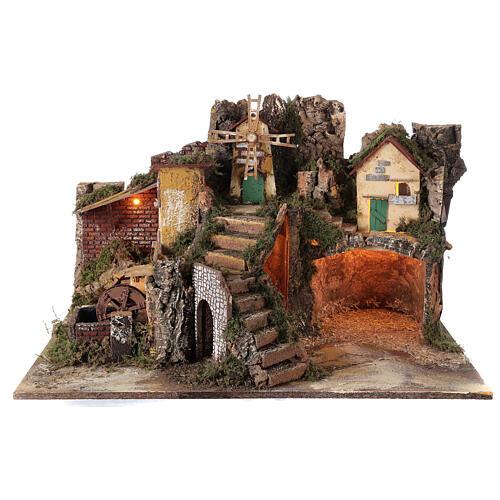 Villaggio illuminato con mulino ad acqua 40x65x50 cm presepe 10-12 cm 1