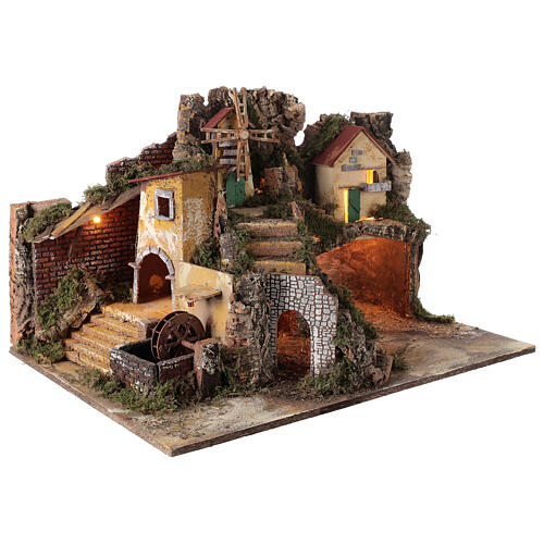 Villaggio illuminato con mulino ad acqua 40x65x50 cm presepe 10-12 cm 3