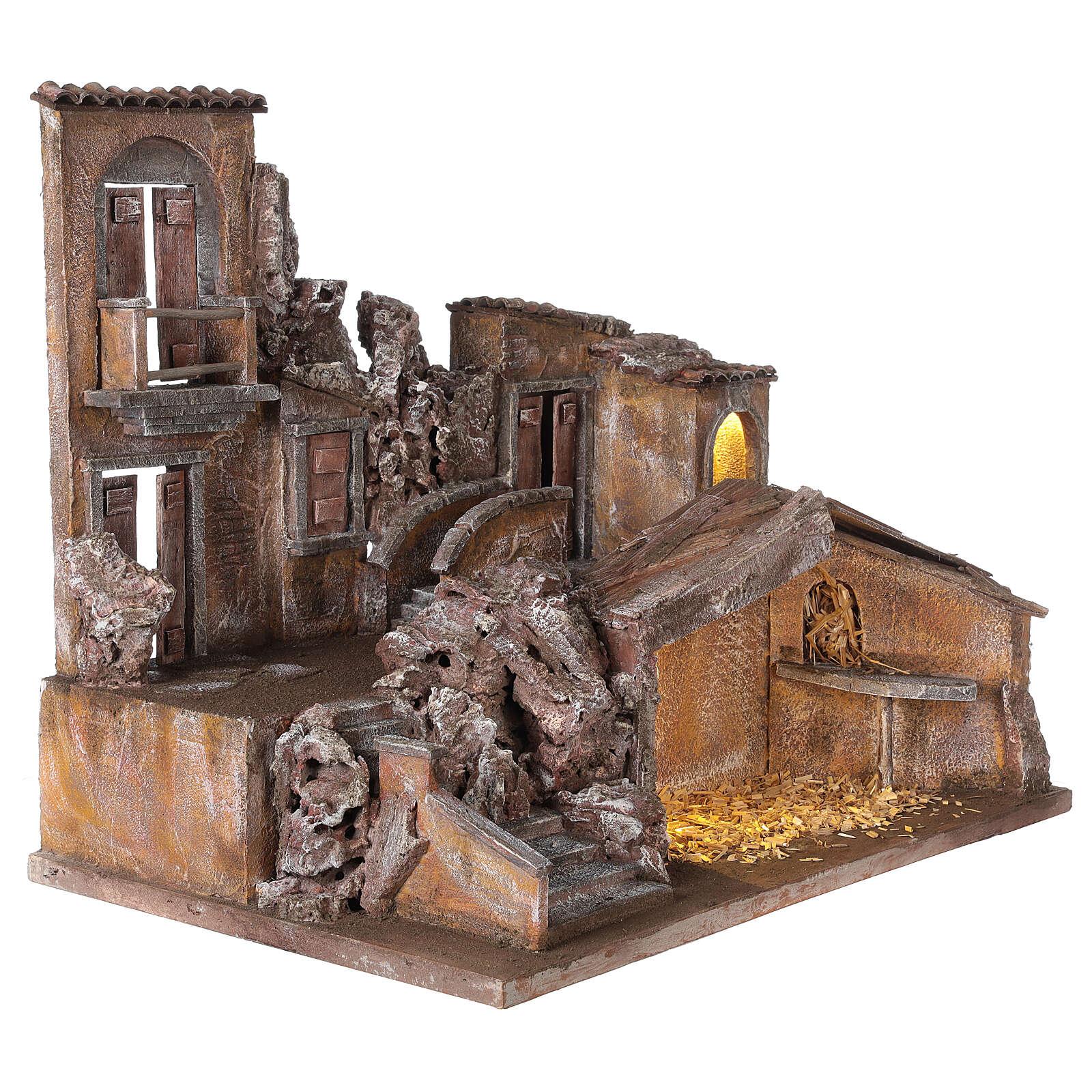 Borgo presepe illuminato con stalla 50x60x40 per statue 12 cm 4