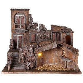 Borgo presepe illuminato con stalla 50x60x40 per statue 12 cm s1