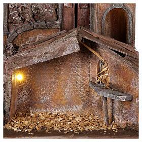 Borgo presepe illuminato con stalla 50x60x40 per statue 12 cm s2
