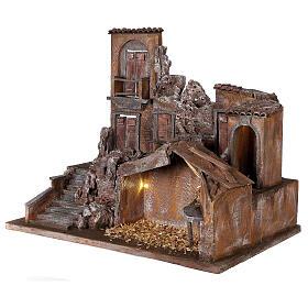 Borgo presepe illuminato con stalla 50x60x40 per statue 12 cm s3