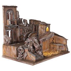 Borgo presepe illuminato con stalla 50x60x40 per statue 12 cm s4