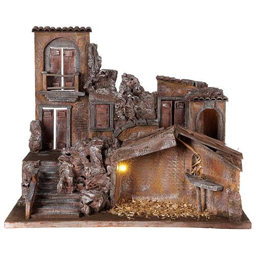 Borgo presepe illuminato con stalla 50x60x40 per statue 12 cm 1