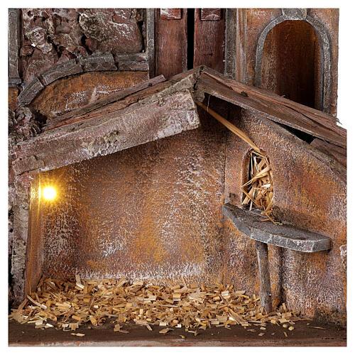 Borgo presepe illuminato con stalla 50x60x40 per statue 12 cm 2
