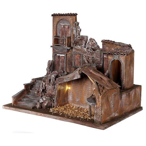 Borgo presepe illuminato con stalla 50x60x40 per statue 12 cm 3