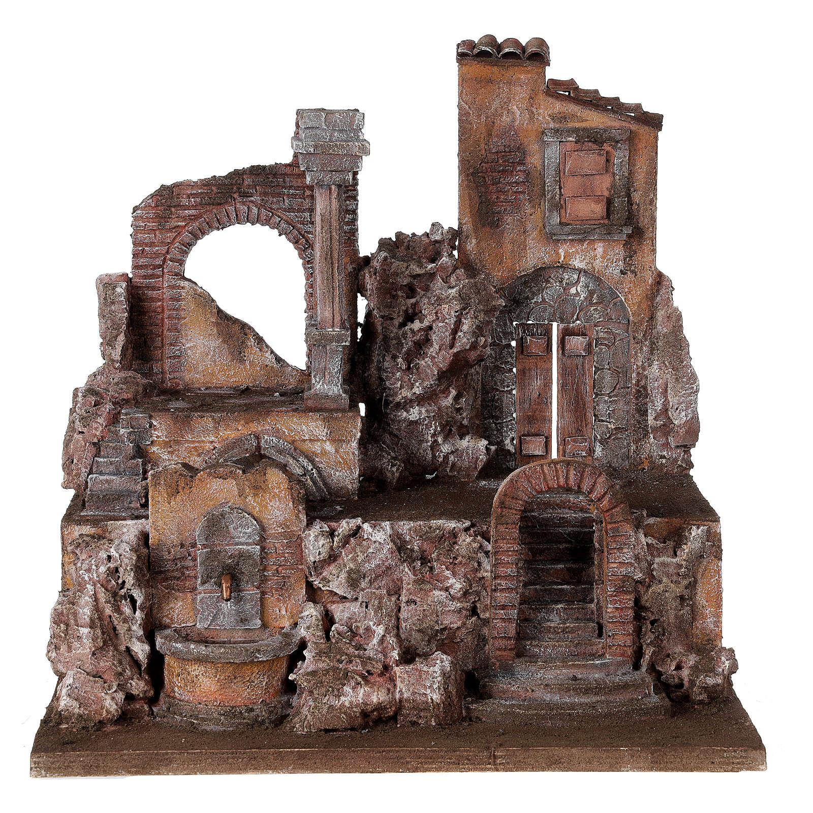 Borgo presepe illuminato con fontanella 45x45x35 per statue 10 cm 4