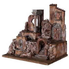 Borgo presepe illuminato con fontanella 45x45x35 per statue 10 cm s3