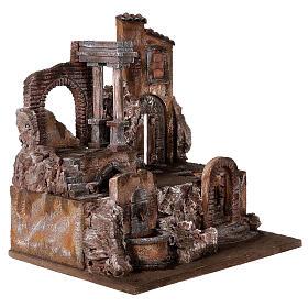Borgo presepe illuminato con fontanella 45x45x35 per statue 10 cm s4