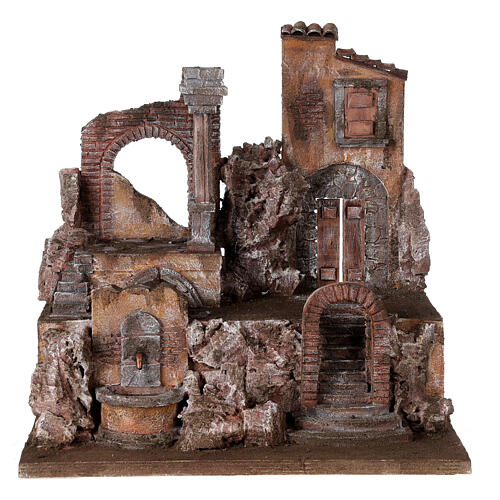 Borgo presepe illuminato con fontanella 45x45x35 per statue 10 cm 1