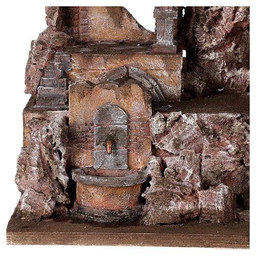 Borgo presepe illuminato con fontanella 45x45x35 per statue 10 cm 2