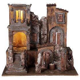 Borgo presepe illuminato con lavanderia 40x45x35 per statue 10 cm s1