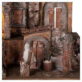 Borgo presepe illuminato con lavanderia 40x45x35 per statue 10 cm s2
