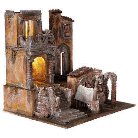 Borgo presepe illuminato con lavanderia 40x45x35 per statue 10 cm s4
