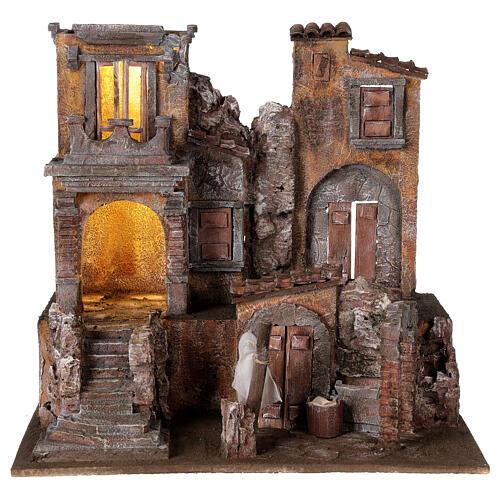 Borgo presepe illuminato con lavanderia 40x45x35 per statue 10 cm 1