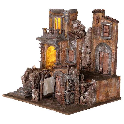 Borgo presepe illuminato con lavanderia 40x45x35 per statue 10 cm 3