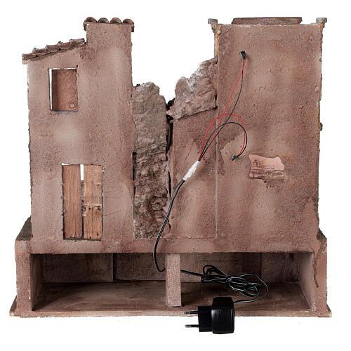 Borgo presepe illuminato con lavanderia 40x45x35 per statue 10 cm 5