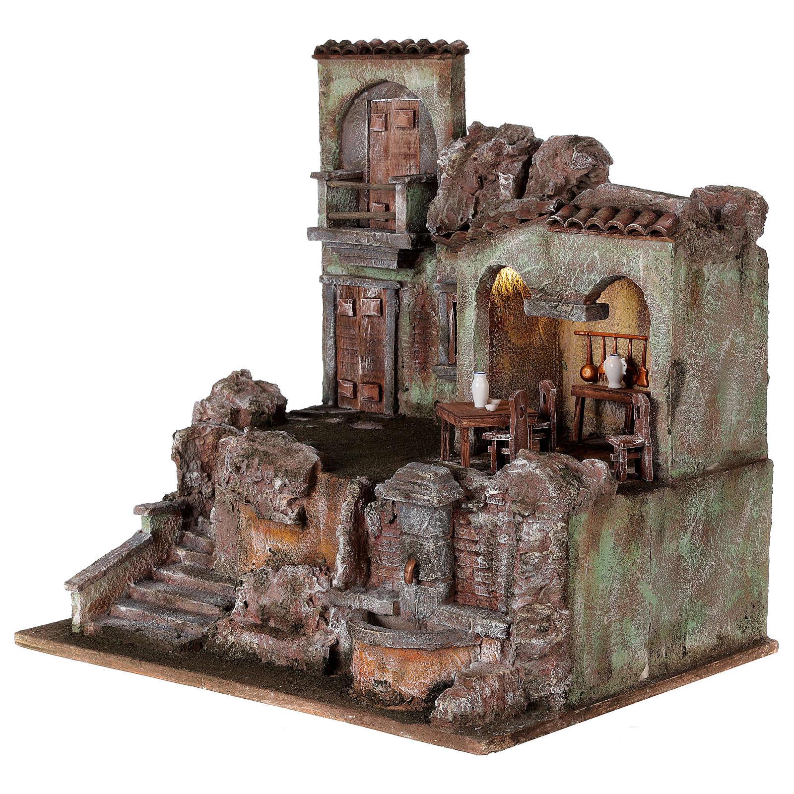 Borgo presepe illuminato tavolino sedie fontanella 50x45x35 statue 10 cm 4