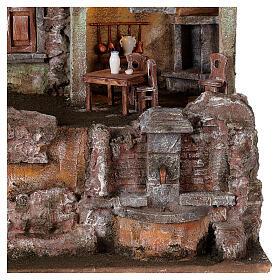 Borgo presepe illuminato tavolino sedie fontanella 50x45x35 statue 10 cm s2