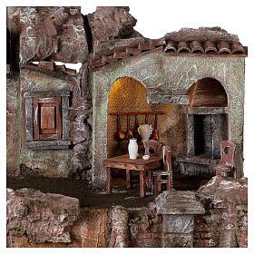 Borgo presepe illuminato tavolino sedie fontanella 50x45x35 statue 10 cm s4