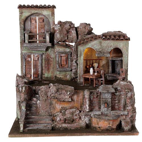 Borgo presepe illuminato tavolino sedie fontanella 50x45x35 statue 10 cm 1