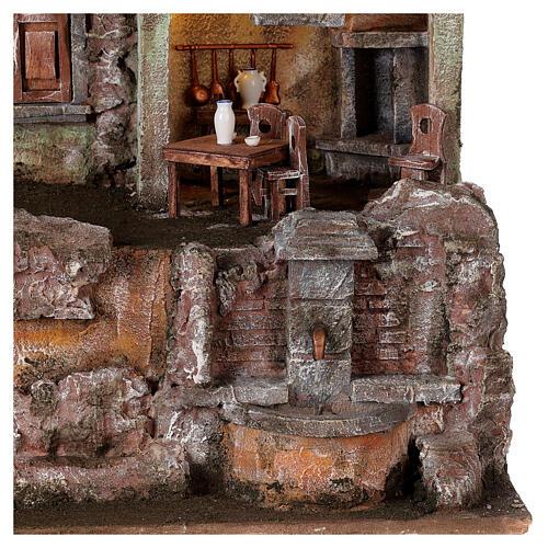 Borgo presepe illuminato tavolino sedie fontanella 50x45x35 statue 10 cm 2