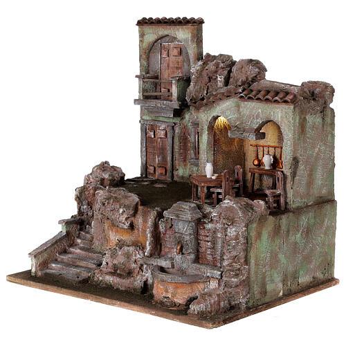 Borgo presepe illuminato tavolino sedie fontanella 50x45x35 statue 10 cm 3