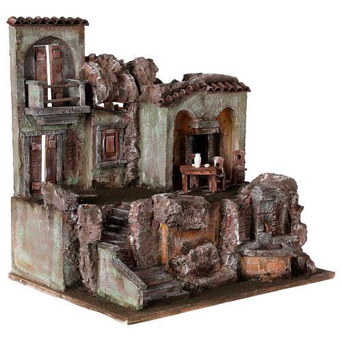 Borgo presepe illuminato tavolino sedie fontanella 50x45x35 statue 10 cm 5
