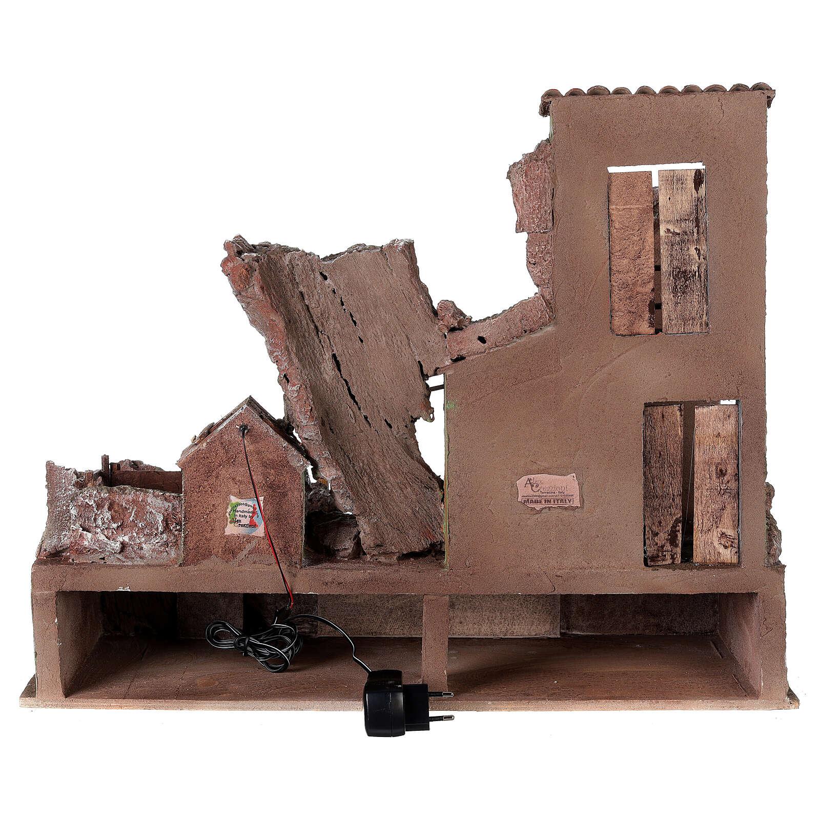 Village crèche éclairé avec étable et escalier 50x60x45 cm pour santons 12 cm 4