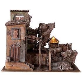 Village crèche éclairé avec étable et escalier 50x60x45 cm pour santons 12 cm s1