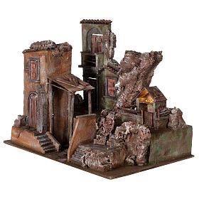Village crèche éclairé avec étable et escalier 50x60x45 cm pour santons 12 cm s3