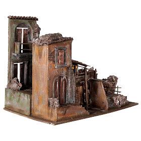 Village crèche éclairé avec étable et escalier 50x60x45 cm pour santons 12 cm s4