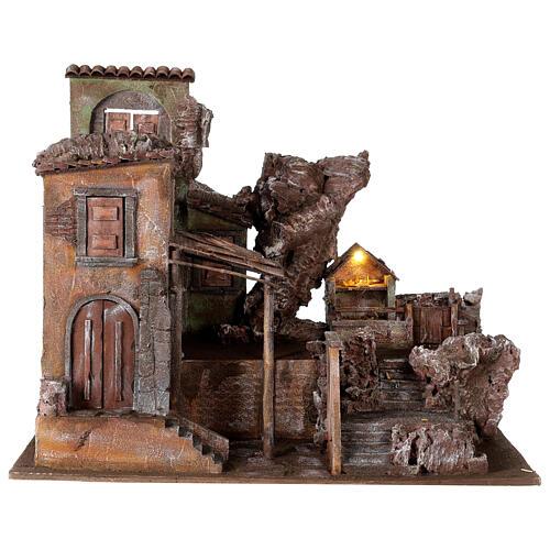 Village crèche éclairé avec étable et escalier 50x60x45 cm pour santons 12 cm 1