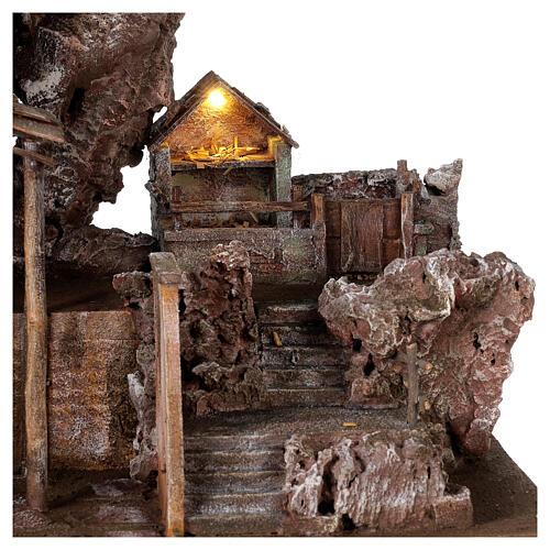 Village crèche éclairé avec étable et escalier 50x60x45 cm pour santons 12 cm 2