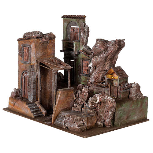 Village crèche éclairé avec étable et escalier 50x60x45 cm pour santons 12 cm 3