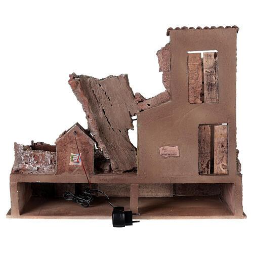 Village crèche éclairé avec étable et escalier 50x60x45 cm pour santons 12 cm 5