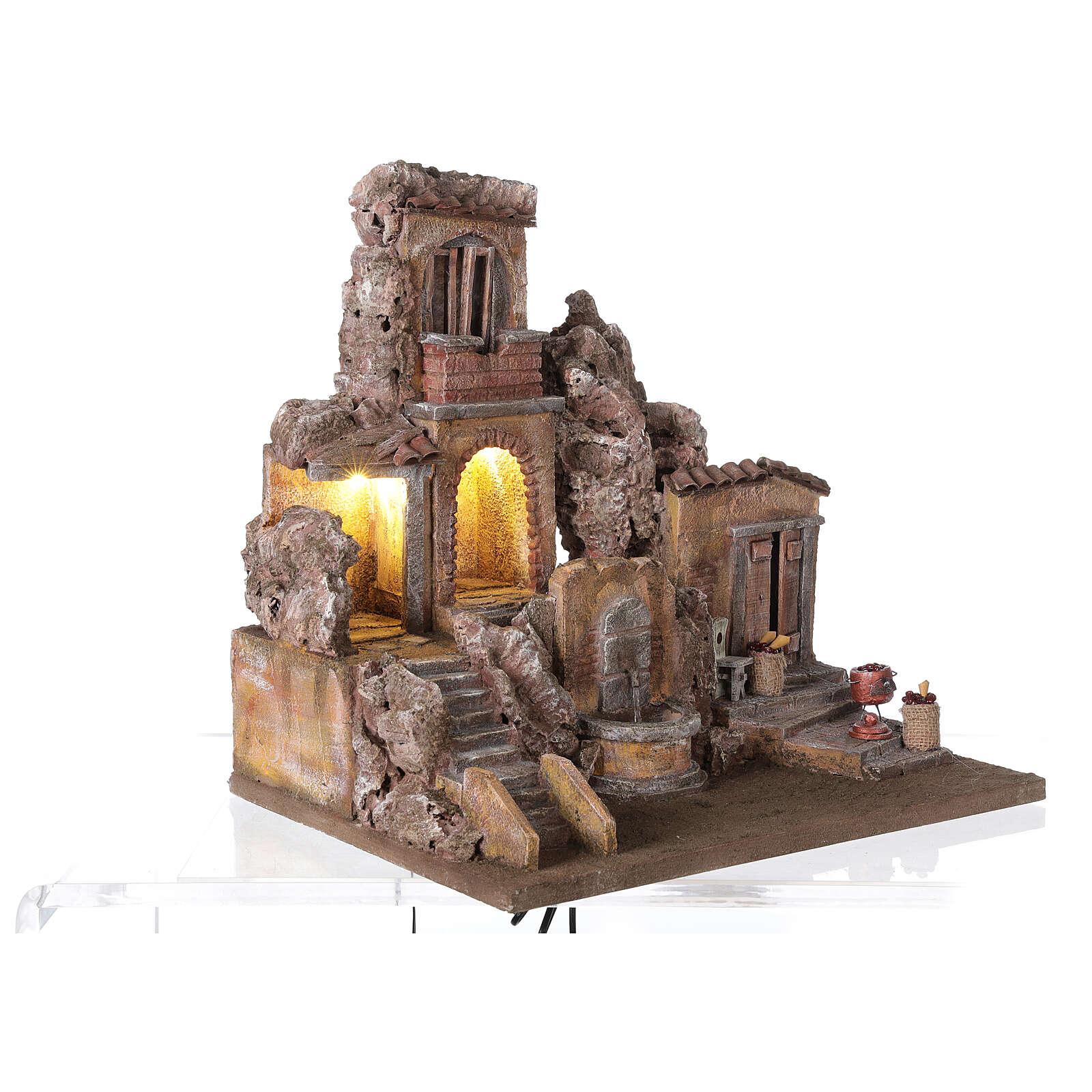 Borgo presepe illuminato con fontanella 40x5x35 per statue 10 cm 4