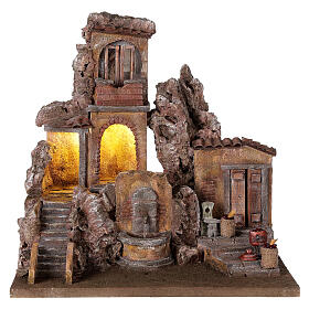 Borgo presepe illuminato con fontanella 40x5x35 per statue 10 cm s1