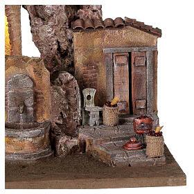 Borgo presepe illuminato con fontanella 40x5x35 per statue 10 cm s4