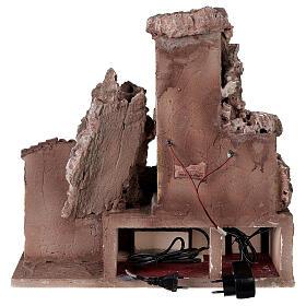 Borgo presepe illuminato con fontanella 40x5x35 per statue 10 cm s6