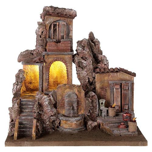 Borgo presepe illuminato con fontanella 40x5x35 per statue 10 cm 1