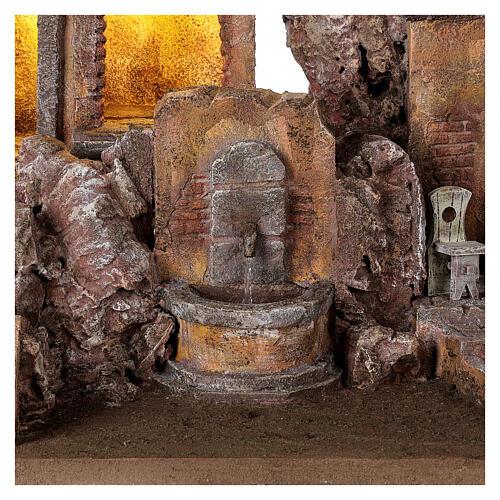Borgo presepe illuminato con fontanella 40x5x35 per statue 10 cm 2