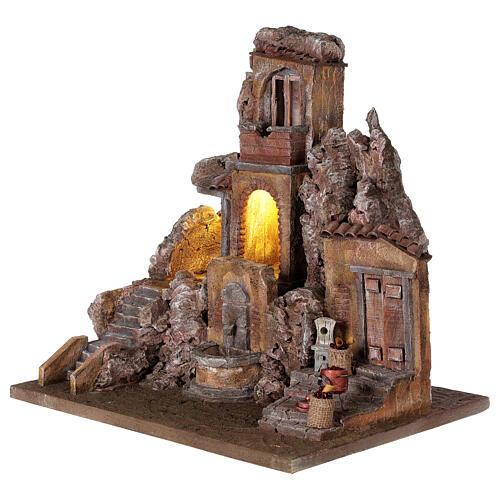 Borgo presepe illuminato con fontanella 40x5x35 per statue 10 cm 3